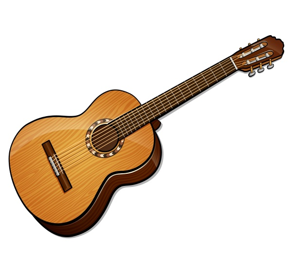 vector classical guitar isolated design