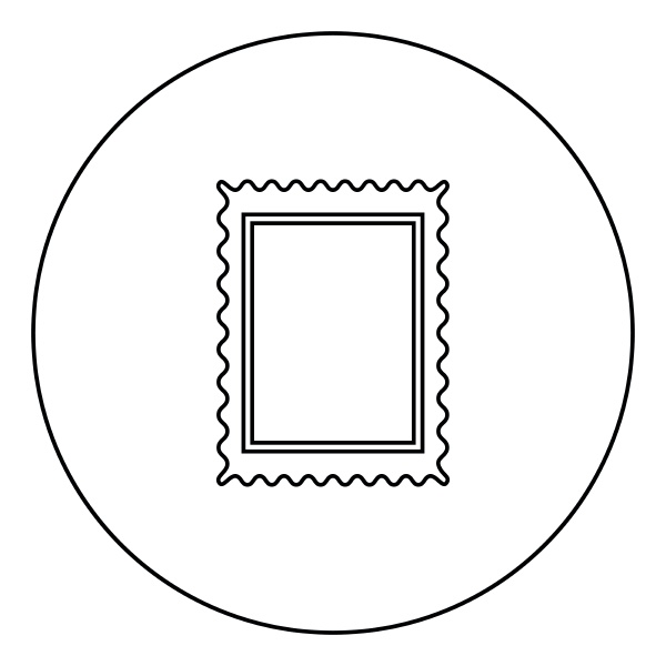 stamp icon black color in circle