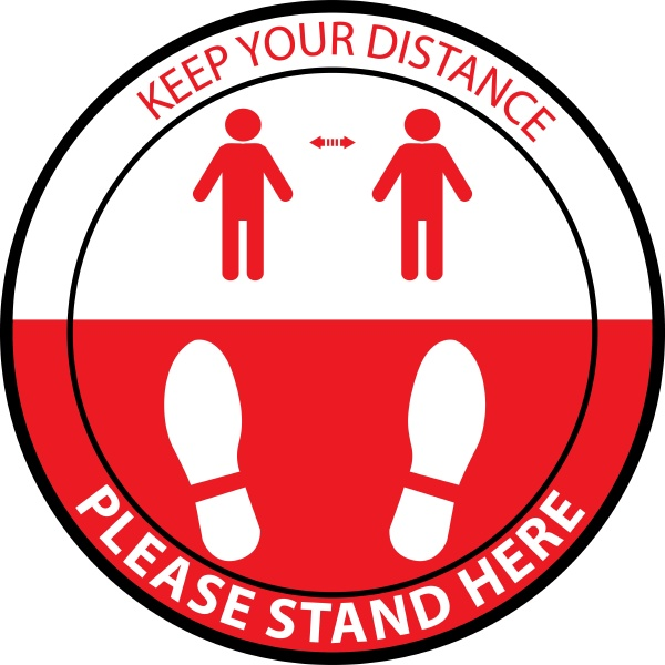 stand here keep distance