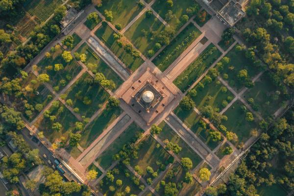 aerial view of empty safdarjung tomb