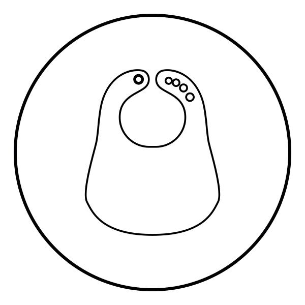 personalized bib icon black color in
