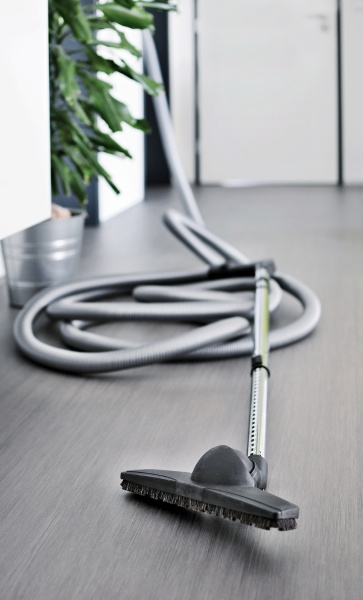 central vacuum cleaner hose in living