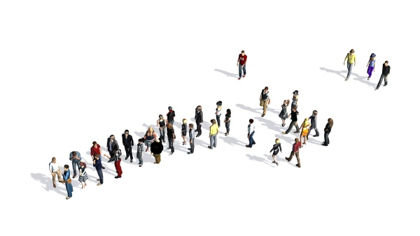 group of people with shadow on