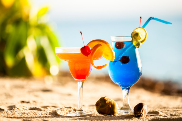 maldives colorful cocktails on the beach