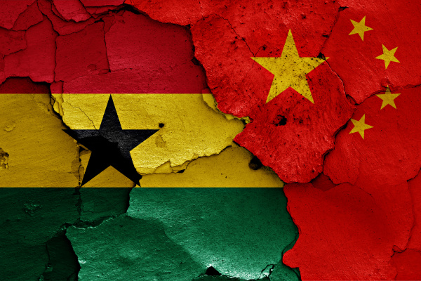 flags of ghana and china painted