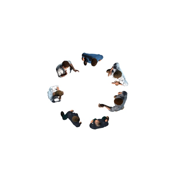 man in circle isolated