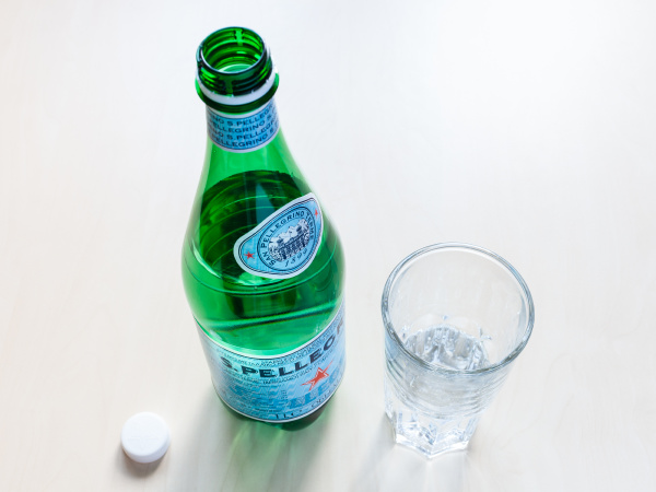 above view of open bottle of