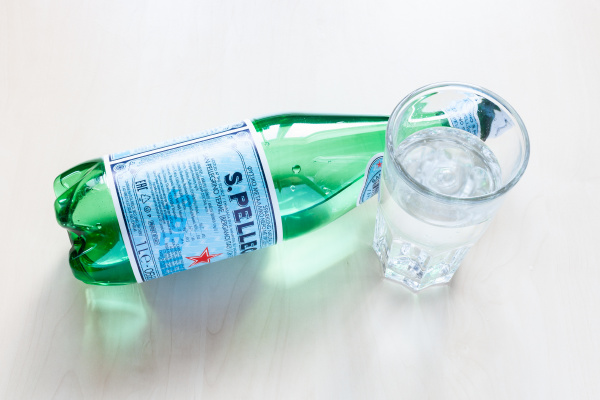 above view of lying bottle of