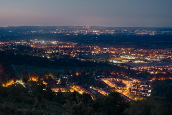 dusk or night time landscape over