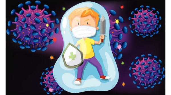 kids are fighting with virus infection