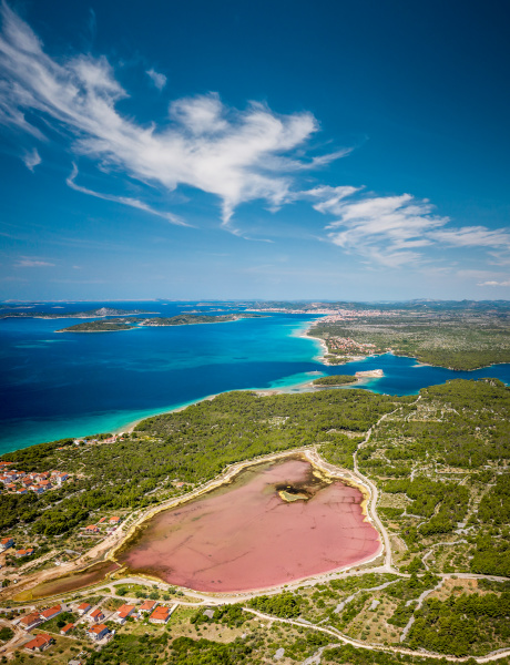 aerial view of a pink lake