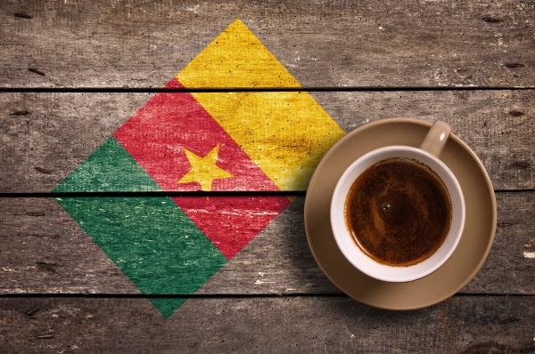 cameroon flag with coffee