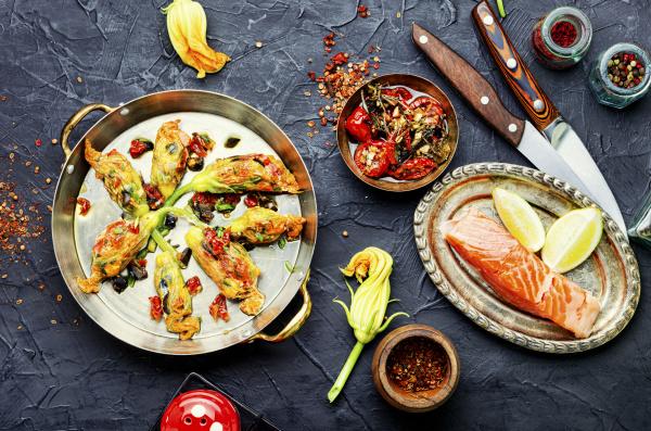 fried zucchini flowers stuffed fish