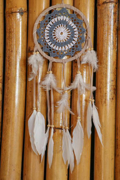 blue dreamcatcher with feathers and beads
