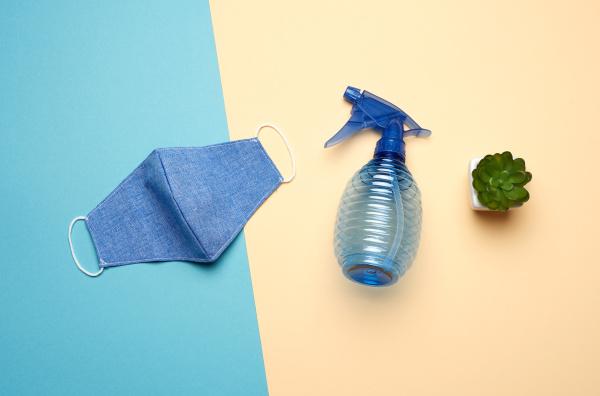 reusable textile mask blue bottle