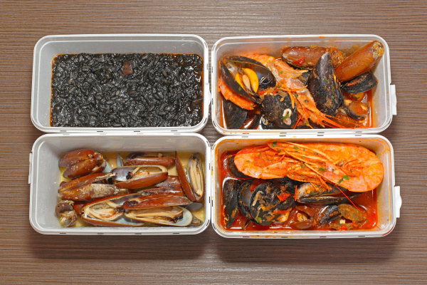 seafood in boxes