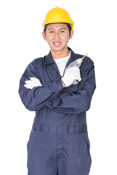 young handyman standing with his