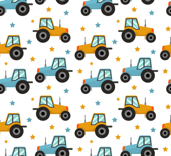 tractor seamless pattern baby cars