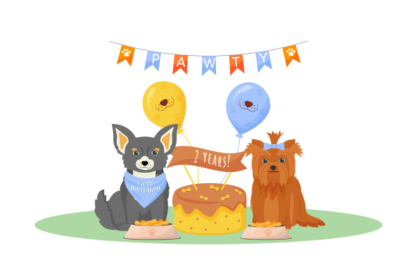 dog birthday flat color vector character