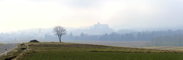 foggy landscape near the village of