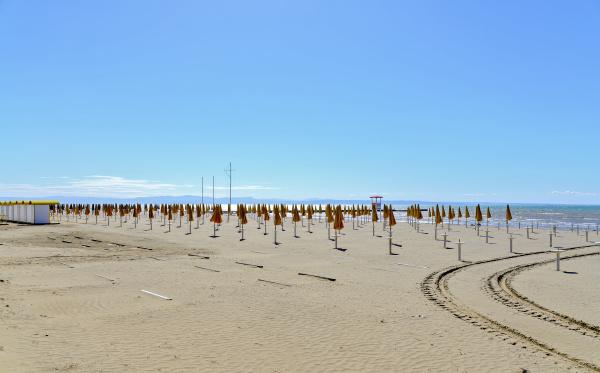 empty bathing beach at the upper