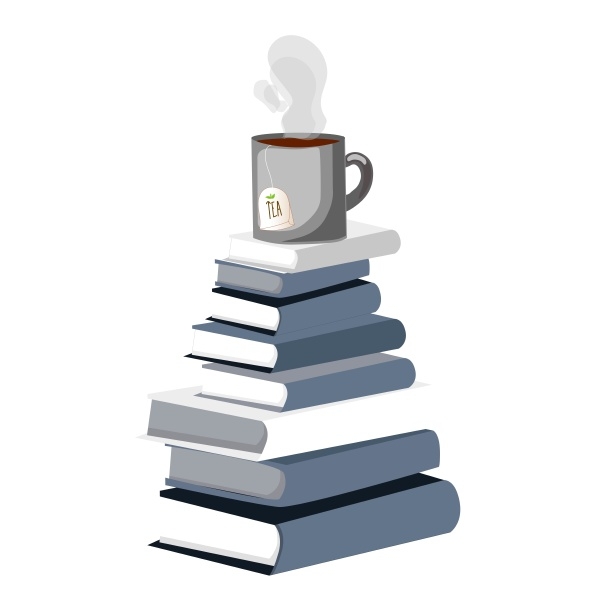 a stack of books a cup