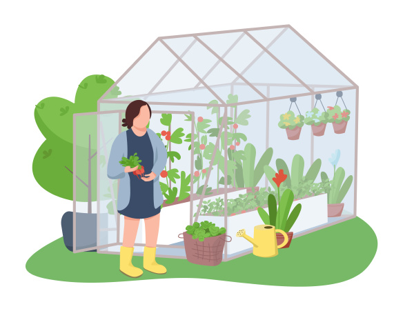 woman and greenhouse 2d vector web