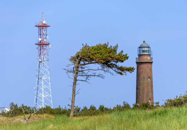radio tower lighthouse and wind