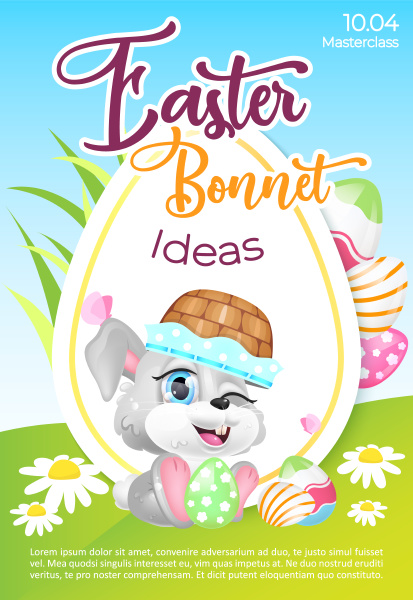 easter bonnet poster flat vector template