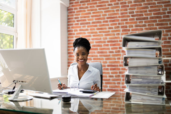 business woman reviewing files