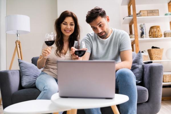 virtual wine tasting using laptop online