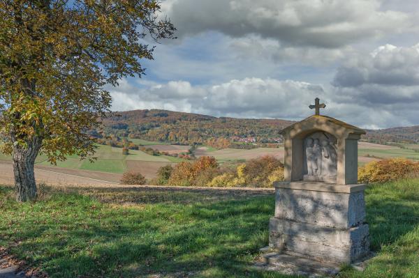 idyllic landscape in rhoen germany