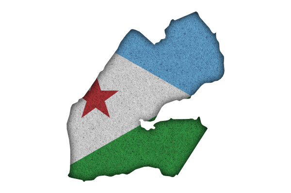 map and flag of djibouti on
