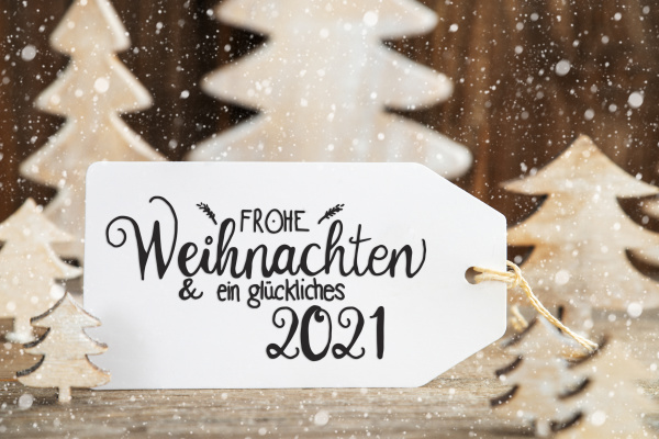christmas tree label glueckliches 2021 means