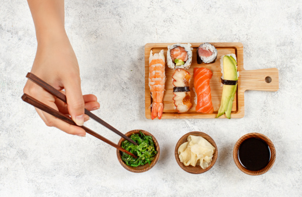 top view of hand taking roll
