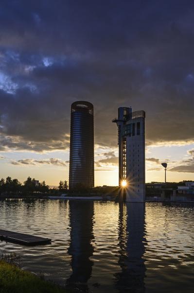 spain seville guadalquivir river office blocks