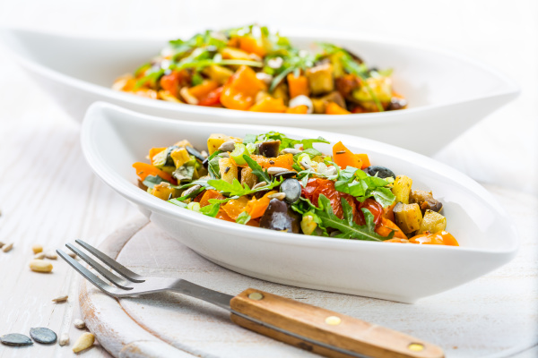 mixed salad of roasted vegetables with