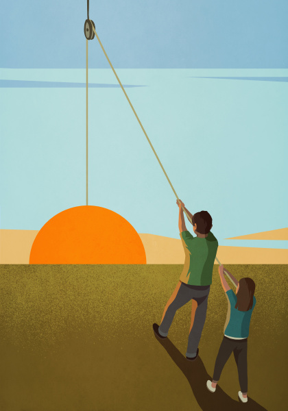 brother and sister hoisting sunrise on