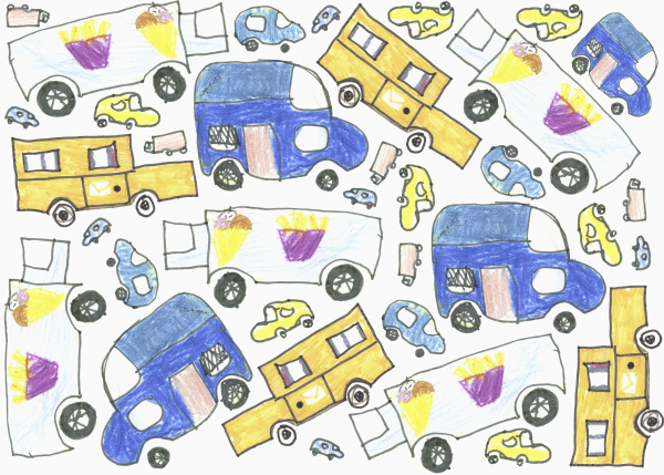 childs drawing delivery truck pattern on