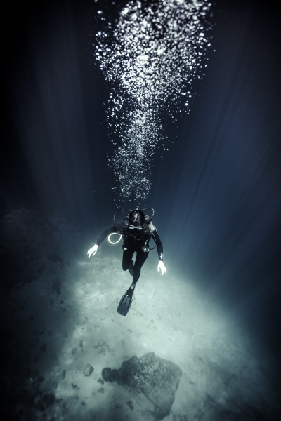 high angle underwater view of diver