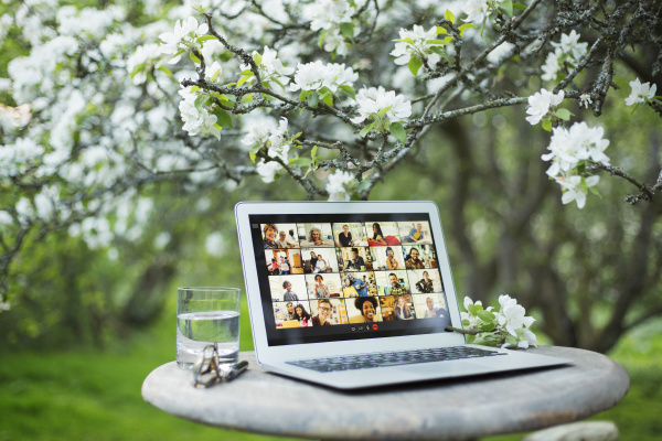 video chat on screen in garden