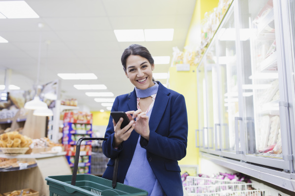 portrait smiling confident woman with smart