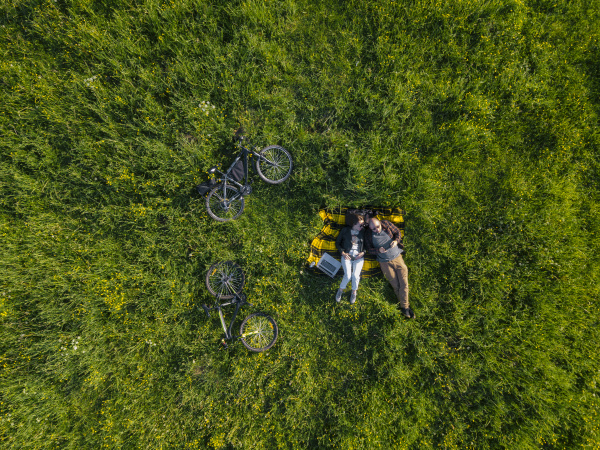 couple lying on grass aerial