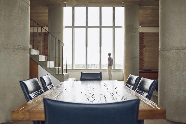 wooden table in a loft flat