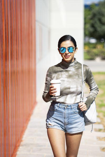 fashionable, young, woman, holding, coffee, cup - 28753264