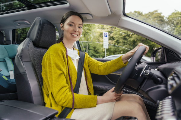 portrait of smiling car driver with