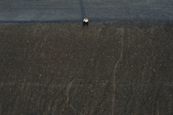 male entrepreneur sitting on hill