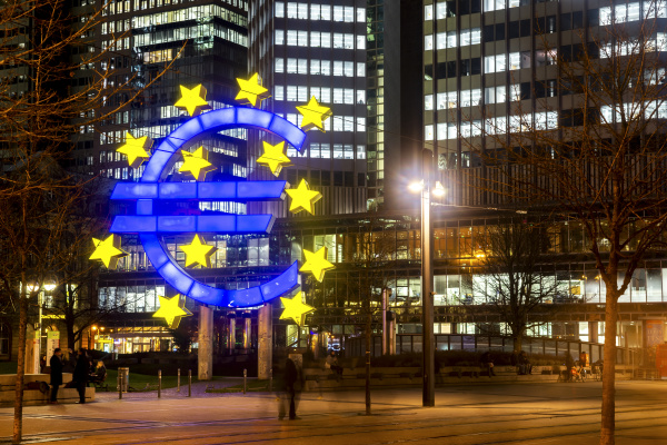 germany hesse frankfurt euro sculpture at