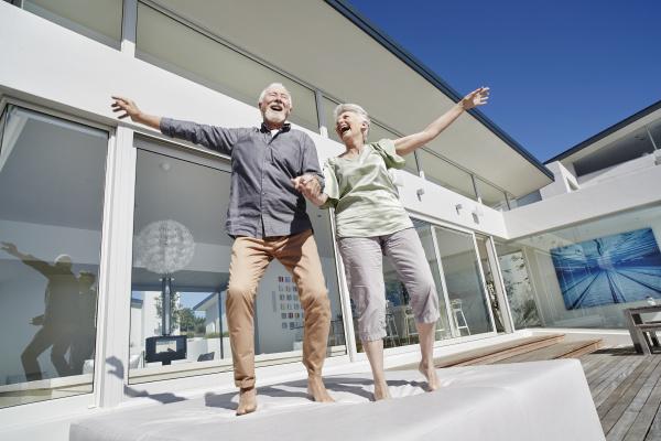 carefree senior couple having fun at
