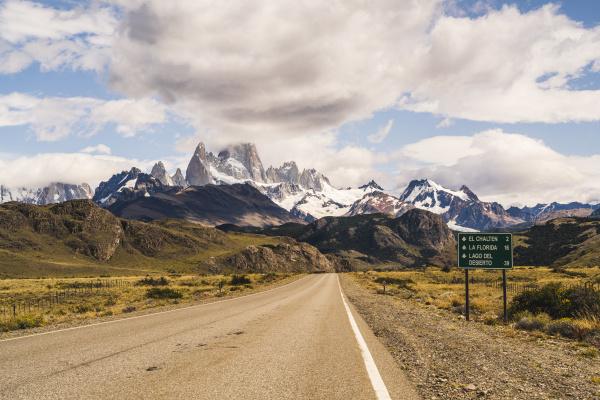 argentina empty asphalt highway toward